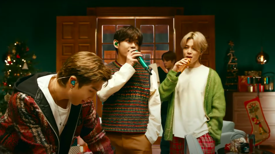 BTS' festive 'one-shot' video for 'Life Goes On' is room after room of holiday knitwear